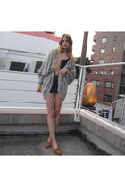 gray American Apparel cardigan - blue American Apparel dress