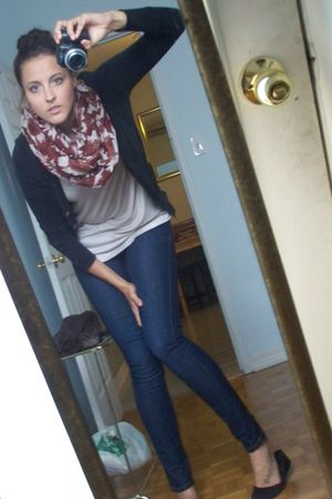 blue f21 jeans - beige Costa Blanca top - black Zara cardigan - brown scarf