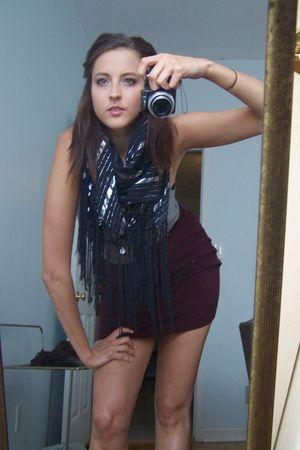 red Forever 21 skirt - gray top - black scarf