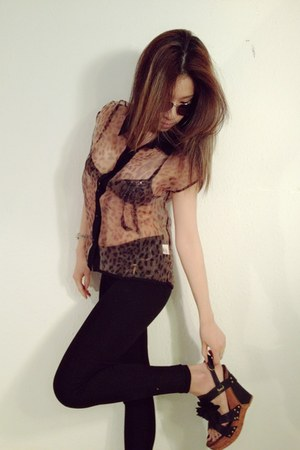 sheer leopard myChickPea blouse - skinny Zara pants - flower Salt&Pepper wedges