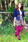 Blue-blazer-brown-belt-black-american-rag-skirt-pink-tights-black-shoes-