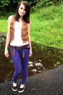 White-top-brown-vest-purple-bull-head-jeans-brown-faded-glory-belt-black