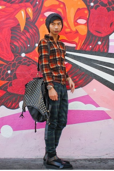 mesh 31 Phillip Lim boots - plaid Uniqlo jacket - studded Deepstyle bag