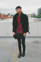 black Repetto shoes - black Topman hat - black fur Zara jacket
