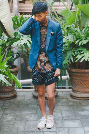 navy Zara shirt - blue Yesstyle blazer - navy Zara shorts