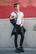 black backpack Kao Pao Shu bag - white Zara shirt - black Tom Ford sunglasses