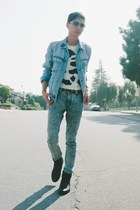 sky blue H&M jacket - light blue acid washed Levis jeans