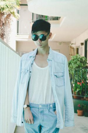 white sheer H&M top - light blue denim cotton on shirt