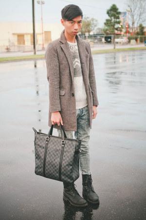 black All Saints boots - light brown tweed Zara coat