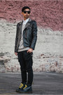 black studded James Payne jacket - navy navy Dr Martens shoes
