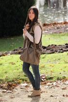Bimba&Lola boots - H&M sweater - Bimba&Lola bag - Mango vest