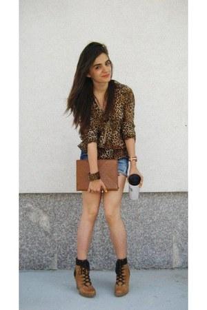 leather Zara boots - denim shorts Zara shorts - REPLAY belt - Zara blouse