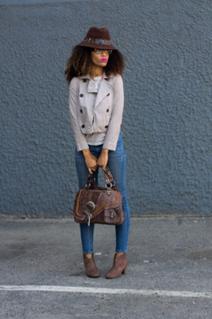 f21 jeans - JustFab shoes - f21 hat - Gap jacket - Target shirt - dior purse