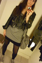black pleather New Yorker jacket - black H&M tights - heather gray H&M bag