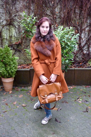 burnt orange fur collar vintage from Ebay coat - sky blue H&amp;M jeans