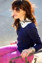 navy Forever 21 sweater - tawny Steve Madden shoes - bronze Pour La Victoire bag