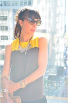 silver Forever 21 necklace - heather gray Nine West shoes - yellow Loft dress
