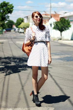 black lita Massacre Store boots - white polka dots OASAP dress