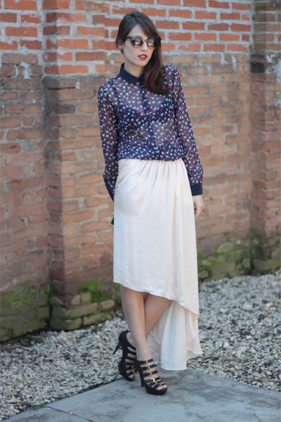 light pink Zara skirt - dark brown O Pato Veste sunglasses - navy Zara blouse