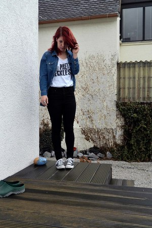 white DIY t-shirt - black Converse shoes - navy button up denim H&M shirt