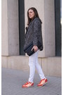 White-only-jeans-charcoal-gray-diy-jacket-black-zara-bag