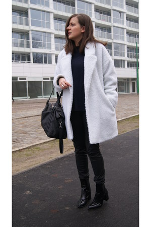 white DIY coat - black Zara boots - silver H&M ring