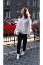 Cream-zara-sweater-white-reebok-sneakers