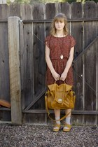 burnt orange f21 dress - satchel bag - Chelsea Crew wedges