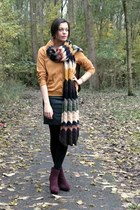 black leather c&a skirt - maroon Bristol boots - brown DIY scarf