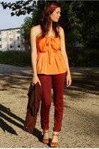 brick red H&M pants - light orange bow tie H&M top - crimson Vero Moda cardigan
