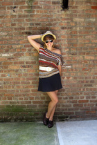 fedora Urban Outfitters - rayban - vintage - vintage - navy wool skirt