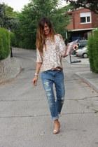 boyfriend Zara jeans - elegant Zara blouse - elegant Zara wallet