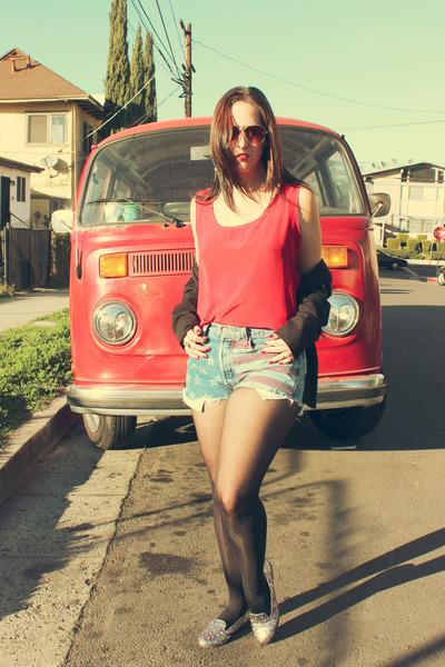 vintage shirt - Levis shorts - Candies flats