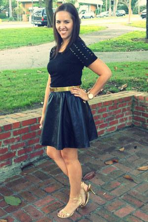 black leather H&M skirt - black studded detail Forever 21 shirt