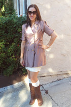 pink rose gold vintage coat - brown slouchy boots - beige lace H&M dress