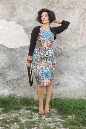 dark brown vintage bag bag - blue AX Paris dress