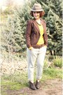 Dark-brown-ankle-boots-boots-lime-green-boyfriend-jeans-jeans-brown-hat