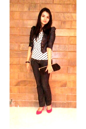shoes - jeans - jacket - satin clutch bag - polka dot top