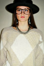 Beige-vintage-from-ebay-sweater-black-woven-urban-outfitters-hat