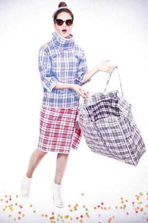 sky blue laundry bag Celine top - brick red laundry bag Celine skirt