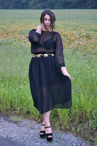 black sheer blouse - black sheer skirt - black Steve Madden wedges