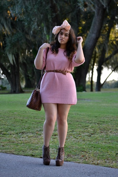 brown Jeffrey Campbell boots - light pink sweater