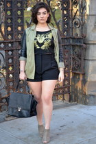 black Wet Seal shorts - olive green Boohoo jacket