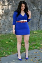 white belt - red belt - blue American Apparel dress