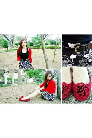 ruby red flats - black intimate - black skirt - red cardigan - black belt