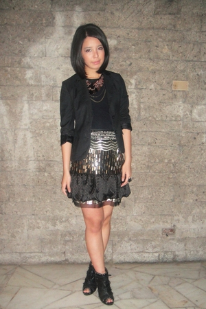 black Rockwell Bazaar blazer - Cosmopolitan necklace - skirt
