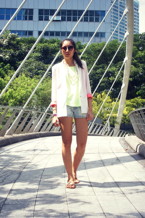 white Shop Akira jacket - periwinkle denim vintage shorts