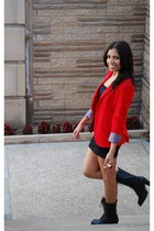 red f21 blazer - black H&M dress - black f21 boots - red Marc Jacobs accessories