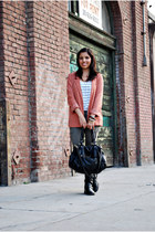 black biker unknown brand boots - light orange H&M blazer - white striped tank H