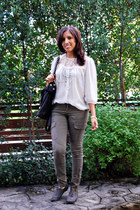 army green H&M pants - ivory H&M blouse - dark gray Aldo shoes - ivory f21 neckl